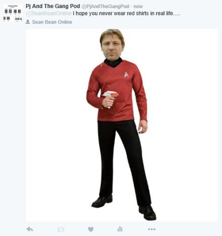red sean bean tweet